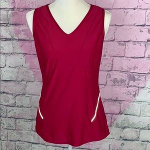 Athleta pink tank top with side reflector trim S